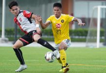 Kaya Iloilo's Shirmar Felongco (right) fights for a loose ball. KAYA-ILOILO PHOTO