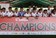 Makati FC boys U14 team celebrates after winning the SingaCup. PHOTO COURTESY OF MAKATI FC