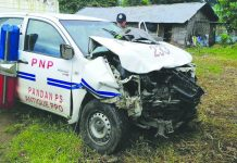 Heavy damage is seen in the front portion of this patrol car of the Pandan municipal police station. POLICE CAPTAIN BRYAN ALAMO