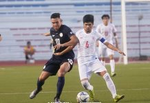 Philippine U-22 Azkals' Justin Baas battles for the ball with a Myanmar player. ABS-CBN SPORTS PHOTO
