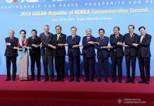 President Rodrigo Duterte (3rd from left) joins other leaders of the Association of Southeast Asian Nations (ASEAN) and Republic of Korea President Moon Jae-in (6th from right) during the ASEAN-Republic of Korea Commemorative Summit in Busan on Nov. 26. PCOO