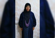 Rasmiya Awad, believed to be the sister of slain Islamic State leader Abu Bakr al-Baghdadi, who was captured on Monday in the northern Syrian town of Azaz, is seen in an unknown location in an undated picture provided by Turkish security officials. TURKISH SECURITY OFFICIALS/HANDOUT VIA REUTERS