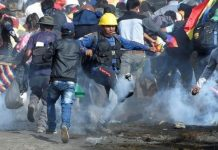 Tear gas was used against the supporters of former president Evo Morales in Sacaba, Bolivia on Friday. REUTERS