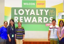 """SUCCESSFUL RAFFLE DRAW. Wilcon Depot holds the electronic raffle draw for """"Wilcon Loyalty Rewards Promo"""" on Nov. 12. Present during the event were (from left) Wilcon marketing supervisor Kristine Joy Benedicto, Wilcon AVP for Sales and Operations Rowell Suarez, Department of Trade and Industry representative Rosila Egmilan, Wilcon marketing manager Dheza Paras, Wilcon VP for Product Development Eden Godino, Wilcon AVPs for Sales and Operations Francis Lazaro, Desiree Cuerdo, Ruel Godino, and Catherine Guingab."""