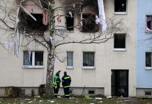 A damaged building is pictured after an explosion in an apartment block in the eastern German city of Blankenburg on Dec. 13. REUTERS/MARVIN GAUL