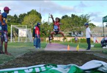 Arika Hiti-ayon of Iloilo's 4th Congressional District jumps to a golden victory in the long jump competition of the ongoing 2019 Iloilo School Sports Council Meet at the Iloilo Sports Complex. She posted a distance of 5.04 meters. IAN PAUL CORDERO/PN