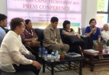 TRANSLATED TO COMMUNITIES. CAPSU vice - president for Research, Development and Extension Dr. Lucy Beluso (on mic) says that the research products in terms of new technologies and basic researches are translated to the communities in view of the schools' extension services during an interaction with local tri-media practitioners, Dec. 9, at CAPSU Dayao satellite college in Roxas City. Photo by PIA Capiz/A. Lumaque