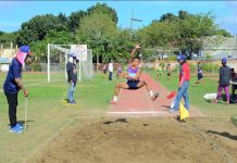 Daryl John Bantiling captures the gold medal in elementary boys long jump of the ongoing 2019 Iloilo School Sports Council Meet at the Iloilo Sports Complex. IAN PAUL CORDERO/PN