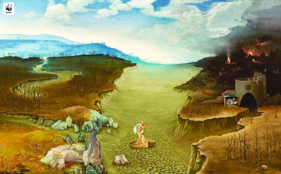 3. Joachim Patinir's El paso de la laguna Estigia (Landscape with Charon Crossing the Styx) becomes an illustration of the impact of extreme drought on river and crops. (1 - MUSEO DEL PRADO), (2- WWF SPAIN/MUSEO DEL PRADO)