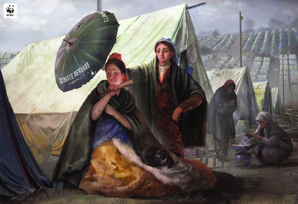 El quitasol (The Parasol) by Francisco de Goya is doctored to reflect the social drama of climate refugees. (1 - MUSEO DEL PRADO), (2 - WWF SPAIN/MUSEO DEL PRADO)