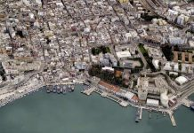 An aerial image of the Port of Brindisi in Italy. BLOM UK VIA GETTY IMAGES