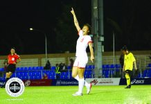 Sarina Bolden rejoices after completing a hat trick for the Philippine women's football team. TIEBREAKER TIMES PHOTO
