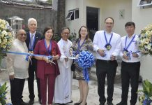 NEW PUBLIC RESTROOM. Wilcon Depot and Grohe Philippines contribute to the construction of the new public restroom at St. John Bosco church (from left) Fr. Manuel Nicolas SDB, Grohe executive director of Human Resources & Organization Michael Mager, Wilcon SEVP – chief operating officer Rosemarie Ong, Fr. Gaudencio Carandang SDB, Dr. Susanne Franke, Grohe vice president of Training & Management Development Timo Kurz, and Lixil Philippines general manager Alpha Ang during the ribbon-cutting ceremony on Nov. 29, 2019.