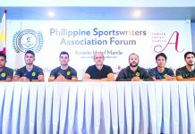 Ceres-Negros F.C. players along with their head coach appear in the first Philippine Sportswriters Association forum for 2020 at Amelie Hotel in Manila. PHILIPPINE SPORTSWRITERS ASSOCIATION