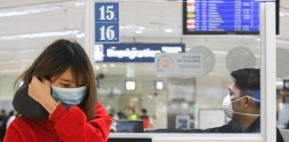 Personnel at the NAIA Terminal 1 in Parañaque City wear face masks as the country heightens measures to prevent the spread of the Novel Coronavirus from China. ABS-CBN News