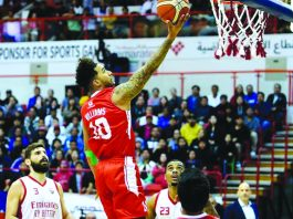 Mikey Williams is on for Mighty Sports-PHL against Beirut Sports Club. TIEBREAKER TIMES PHOTO