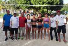 Olga Montilla and Honey Grace Cordero of Team Silay B (third and fourth from left) are champions in the NVF Beach Volleyball For a Cause women's category. They defeated Bernadeth Pons and Nikka Medina of Team Pons (third and fourth from right). PHOTO COURTESY OF BORGE PORCEL