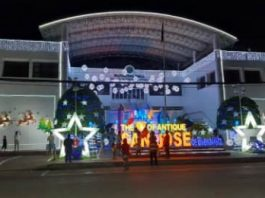 """The San Jose town hall in Antique shines with decorations during the Christmas season. Mayor Elmer Untaran on Wednesday said they have yet to discuss plans on relocating the town hall outside the """"busy"""" business area. PNA/Annabel Consuelo J. Petinglay"""