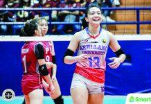 Regine Arocha spearheads Arellano University Lady Chiefs' triumph over Lyceum Lady Pirates. TIEBREAKER TIMES