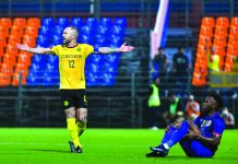 Ceres-Negros FC's Stephan Schröck is jubilant after scoring a goal against Port FC. CERES-NEGROS PHOTO.