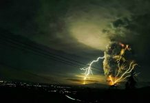 Lightning streaks over Batangas as Taal Volcano continues to push up a giant ash and steam cloud on Sunday evening. Residents of towns near Taal Volcano are being taken to safer grounds, disaster officials said. Domcar Lagto, ABS-CBN News