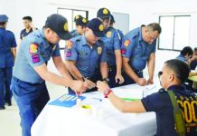 Some of the 102 personnel of the Negros Occidental Police Provincial Office who underwent a surprise drug test on Jan. 13. PNA