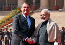 Brazil's President Jair Bolsonaro (left) shakes hands with India's Prime Minister Narendra Modi during his ceremonial reception at the forecourt of India's Rashtrapati Bhavan Presidential Palace in New Delhi, India on Jan. 25. REUTERS/ALTAF HUSSAIN