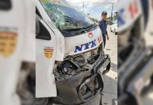 Heavy damage is seen in the front portion of this van that crashed into a police patrol car in Barangay Bolong Oeste, Sta. Barbara, Iloilo on Feb. 26. PANAY EMERGENCY UPDATES GROUP