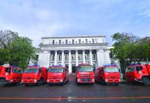 The six brand-new Isuzu fire trucks turned over by the Bureau of Fire Protection of the Department of the Interior and Local Government to the six local government units in Negros Occidental, including Bacolod City. These were presented by the local BFP officials to Gov. Eugenio Jose Locsin in a ceremony held at the Capitol grounds in Bacolod on Feb. 17, 2020.