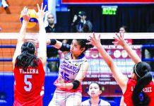 Carla Donato attempts to score against the walls of Emilio Aguinaldo College Lady Generals. TIEBREAKER TIMES
