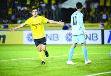 Ceres-Negros F.C. activates completes a brace after scoring two goals in their Asian Football Confederation Cup showdown against Svay Rieng F.C. of Cambodia at the Rizal Memorial Stadium last night. FOX SPORTS ASIA