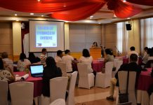 Assistant regional director Lucrecia S. Taberna welcoming the guests and participants during the 2-day DAR-DENR-LBP Synchronization Conference held on Feb. 17-18, 2020 at the Days Hotel, Iloilo City.