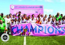 De La Salle University Lady Booters squad celebrates after winning the Philippine Football Federation Women's League 2019. TIEBREAKER TIMES