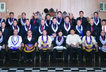 MW Justice Ricardo P Galvez, Sr. Masonic Lodge 229 elected and appointed officers and members, Masonic Year 2020-2021 with Guest of honor Bro. Archie Gupalor, Installing officer Judge Nery Duremdes, GLI WI Jet Beray PM, JGL VW John Franco PDDGM and DDGM VW Ramcez John Honrado
