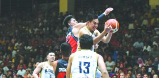 Ilonggo Jay Javelosa of the Iloilo United Royals emphatically soars for a rebound. MPBL