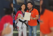 Negrense five-peat gold winner Mary Angeline Alcantara together with coach Vic Feria. PHOTO BY JEROME GALUNAN