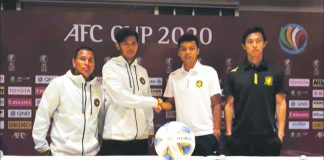 (From left) Kaya-Iloilo head coach Oliver Colina and Marwin Angeles attend a press conference along with Tampines Rover's player Irwan Sha and head coach Gavin Lee. CONTRIBUTED PHOTO