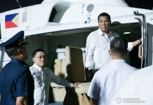 President Rodrigo Roa Duterte prepares to board a helicopter after gracing the inauguration of the Sangley Airport Development Project in Cavite City on February 15, 2020. PCOO