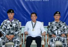 President Rodrigo Roa Duterte witnesses the program proper during the Presidential Security Group (PSG) Change of Command Ceremony at the PSG Compound in Malacañang Park, Manila on February 25, 2020. PRESIDENTIAL PHOTO