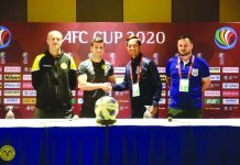 Ceres Negros F.C. head coach Risto Vidaković and Bienvenido Marañon (from the left) attend the pre-match conference to talk about the teams preparation in their AFC Cup run. CERES NEGROS FC FACEBOOK PAGE