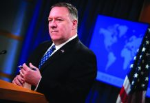United States Secretary of State Mike Pompeo briefs journalists in Washington on Feb. 25, 2020. AFP