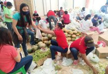 Personnel of the local government unit of Sara, Iloilo and volunteers prepare food packs to be distributed to the town's residents on April 1. Beneficiaries will receive vegetables aside from the usual food packs. SARA GUGMA KO